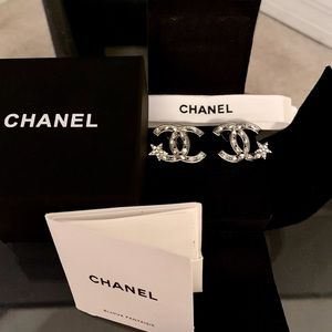 Chanel Silver And Crystal Earrings